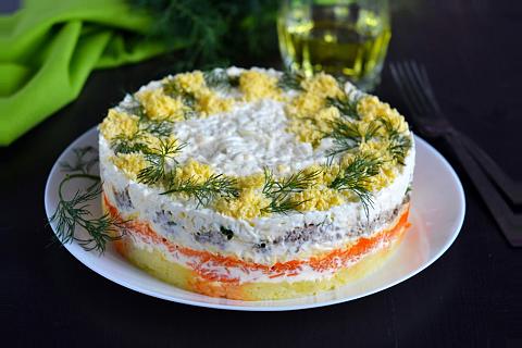 салат мимоза с рыбными консервами фото