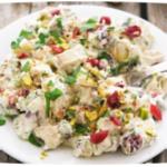 салат с отварной куриной грудкой, клюквой и фисташками