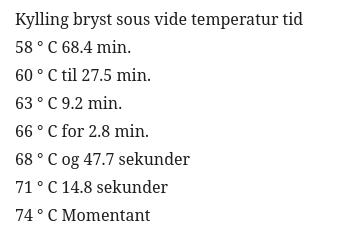 tabell sous vide temperatur og tid for kylling