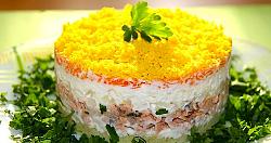 салат из печени трески слоями
